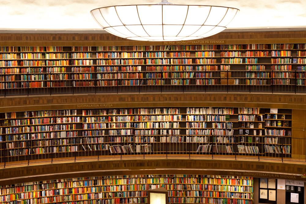 Fotoaufnahme Innenarchitektur der Stadtbibliothek Stockholm, Architekt Gunnar Asplund